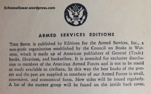 Inside cover of an Armed Service Edition book